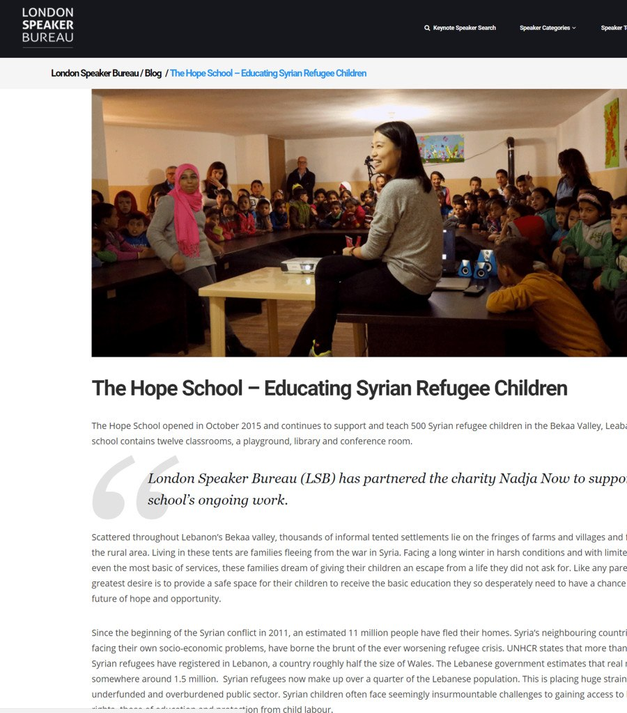 Post on 11th August - London Speaker Bureau - August 2017