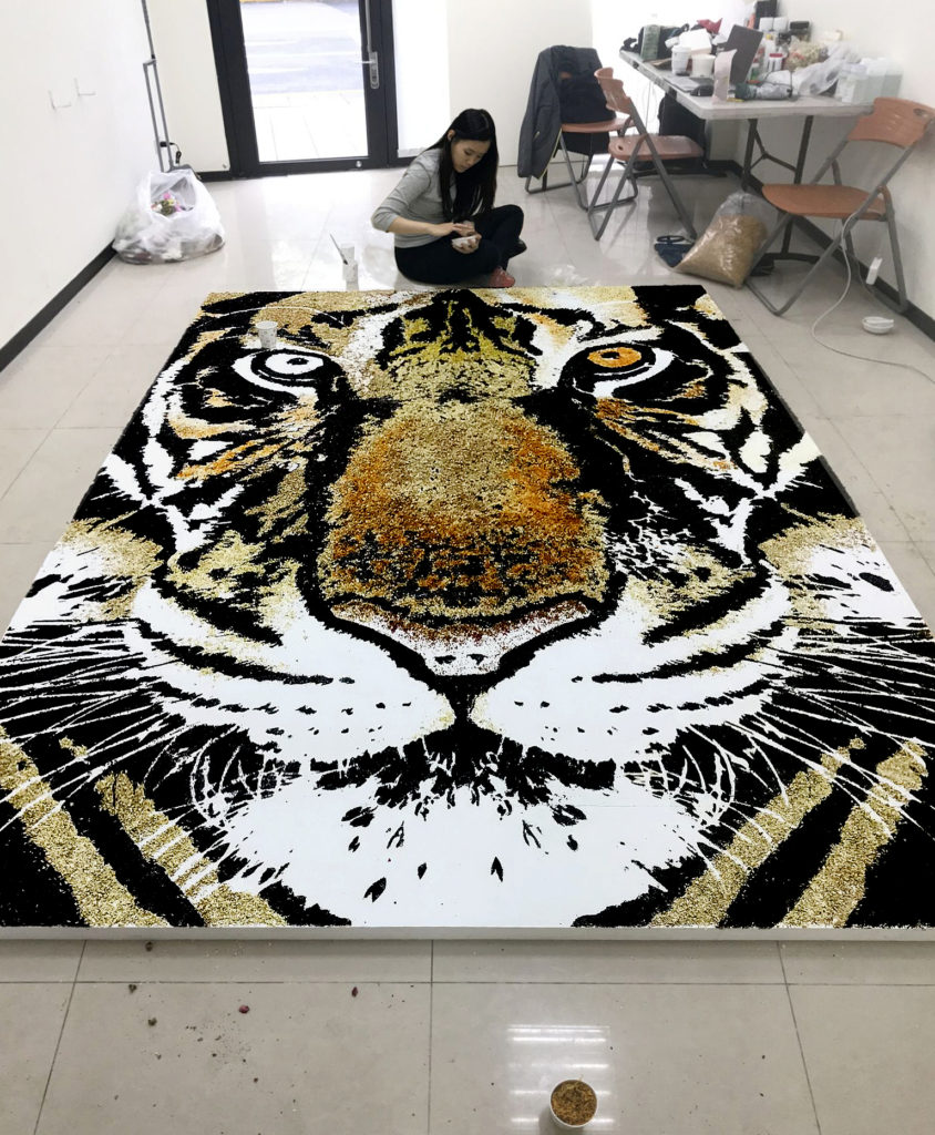 Untitled (Tiger with tea leaves) | Red Hong Yi