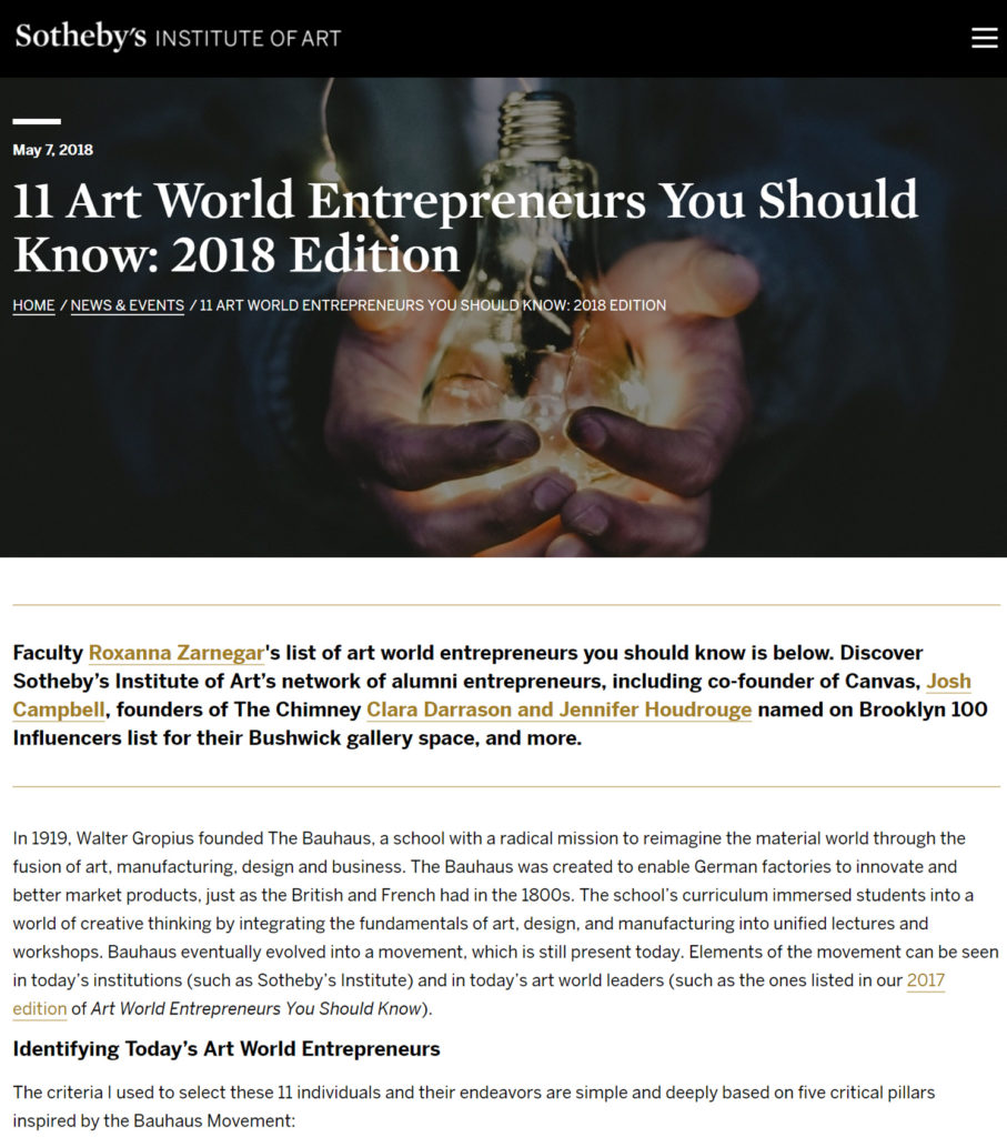 11 Art World Entrepreneurs You Should Know: 2018 Edition - Sothebys Institute - May 2018