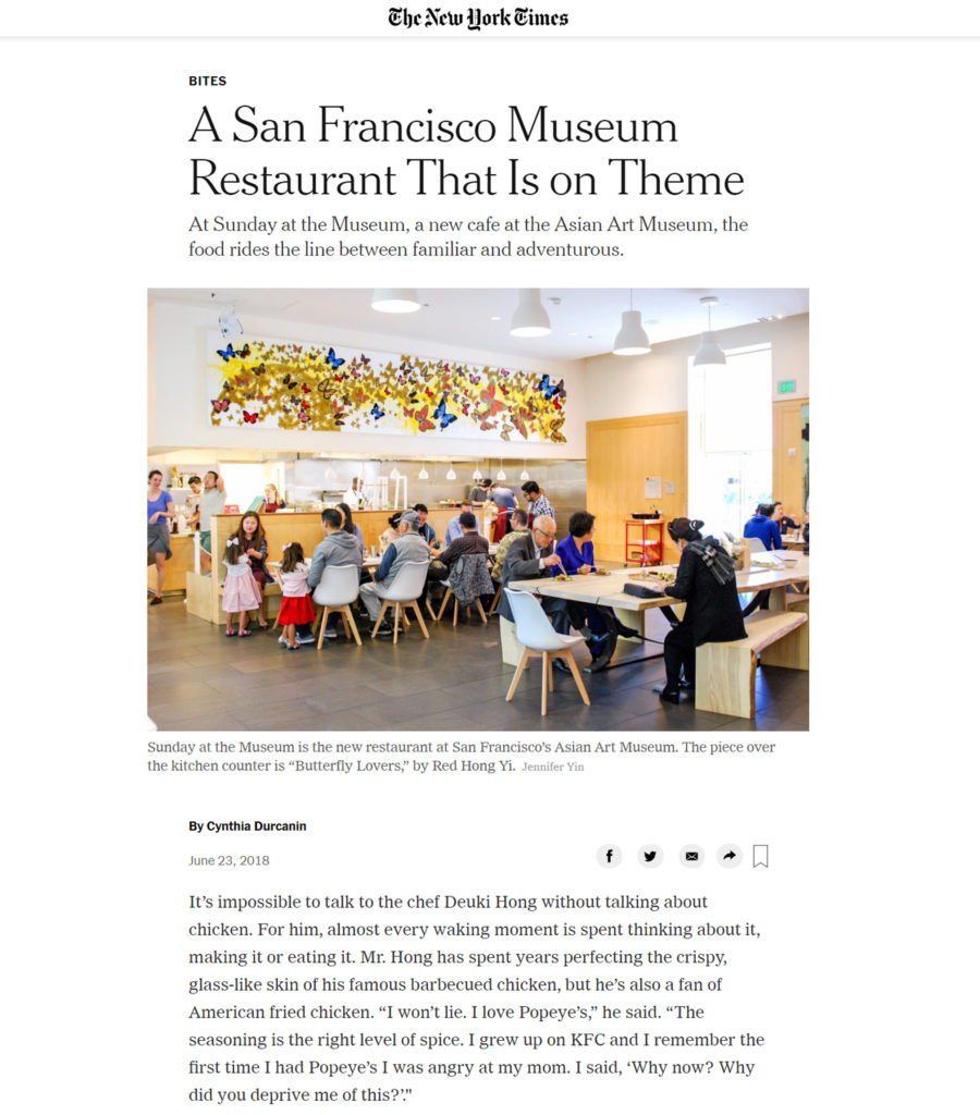 A San Francisco Museum Restaurant That Is on Theme - NYTimes - June 2018
